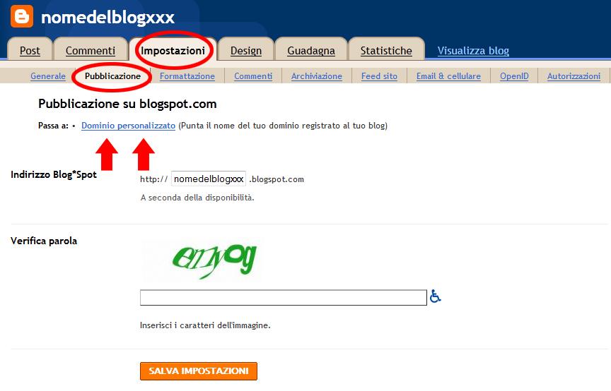 comprare dominio blogger
