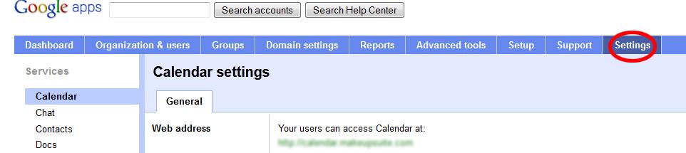 settings googleapps