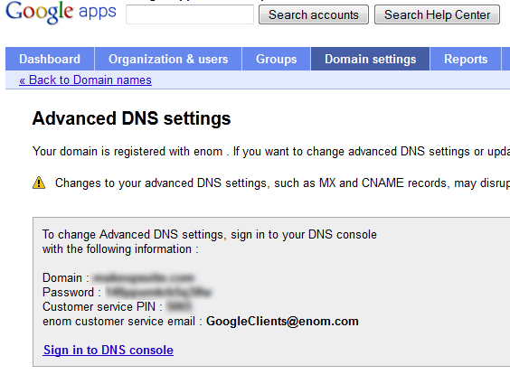 Advanced DNS settings Google apps