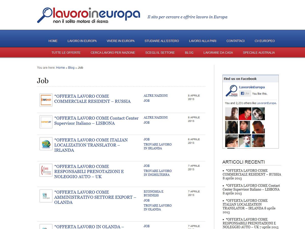 Lavoro in Europa: il sito